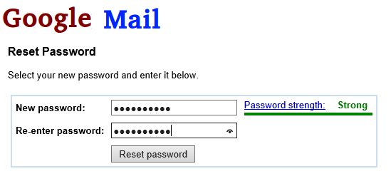 How to reset Google mail password
